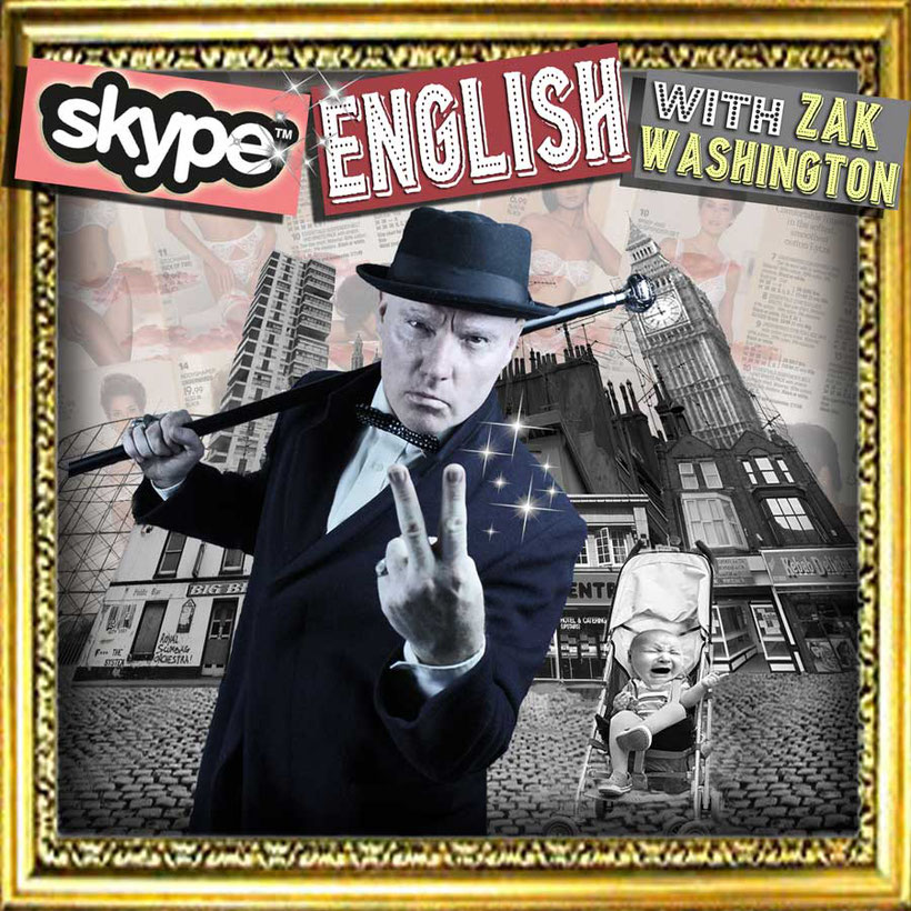 Skype English classes graphic with English teacher and London skyline