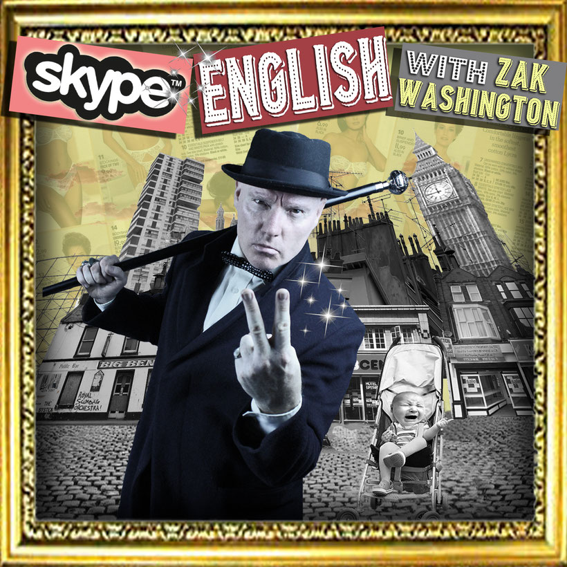 Learn English on Skype graphic with London, Britain montage and English gentleman