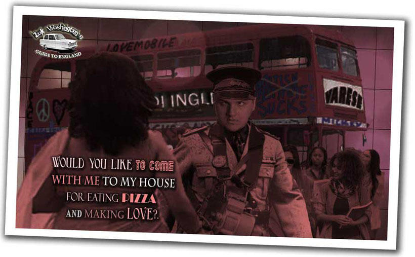 Image from a ZakWashington video with a double-decker bus, ticket inspector and Indian lady