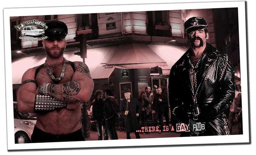 ZakWashington outside Soho nightclub with two gay leathermen