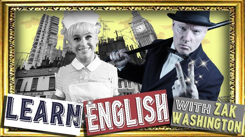 Learn English with Zak Washington graphic logo and London skyline montage