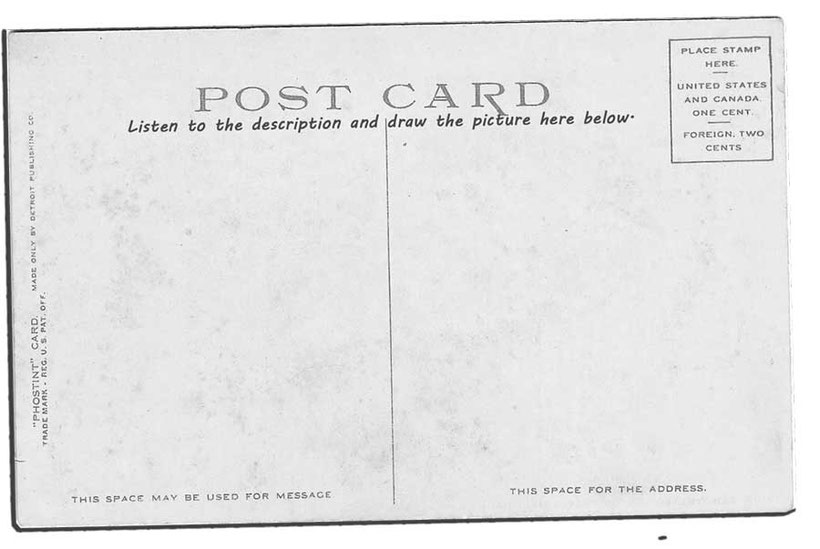 English language listening exercise written on graphic of vintage postcard. Part 3