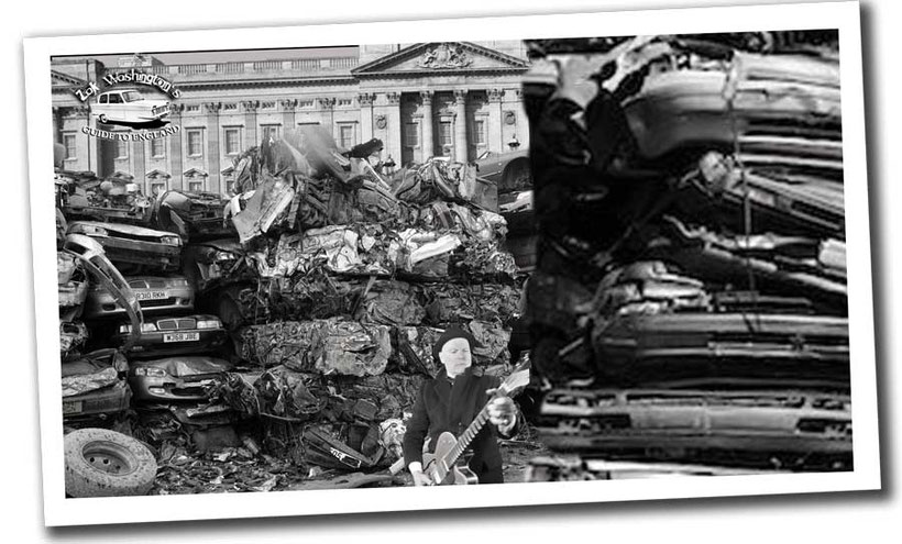 Photo of British culture: London junkyard / scrapyard with crushed cars piled up in front of Buckingham Palace