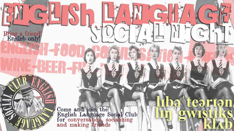 Language Unlimited poster for English Language Social Nights events and non-profit online English course