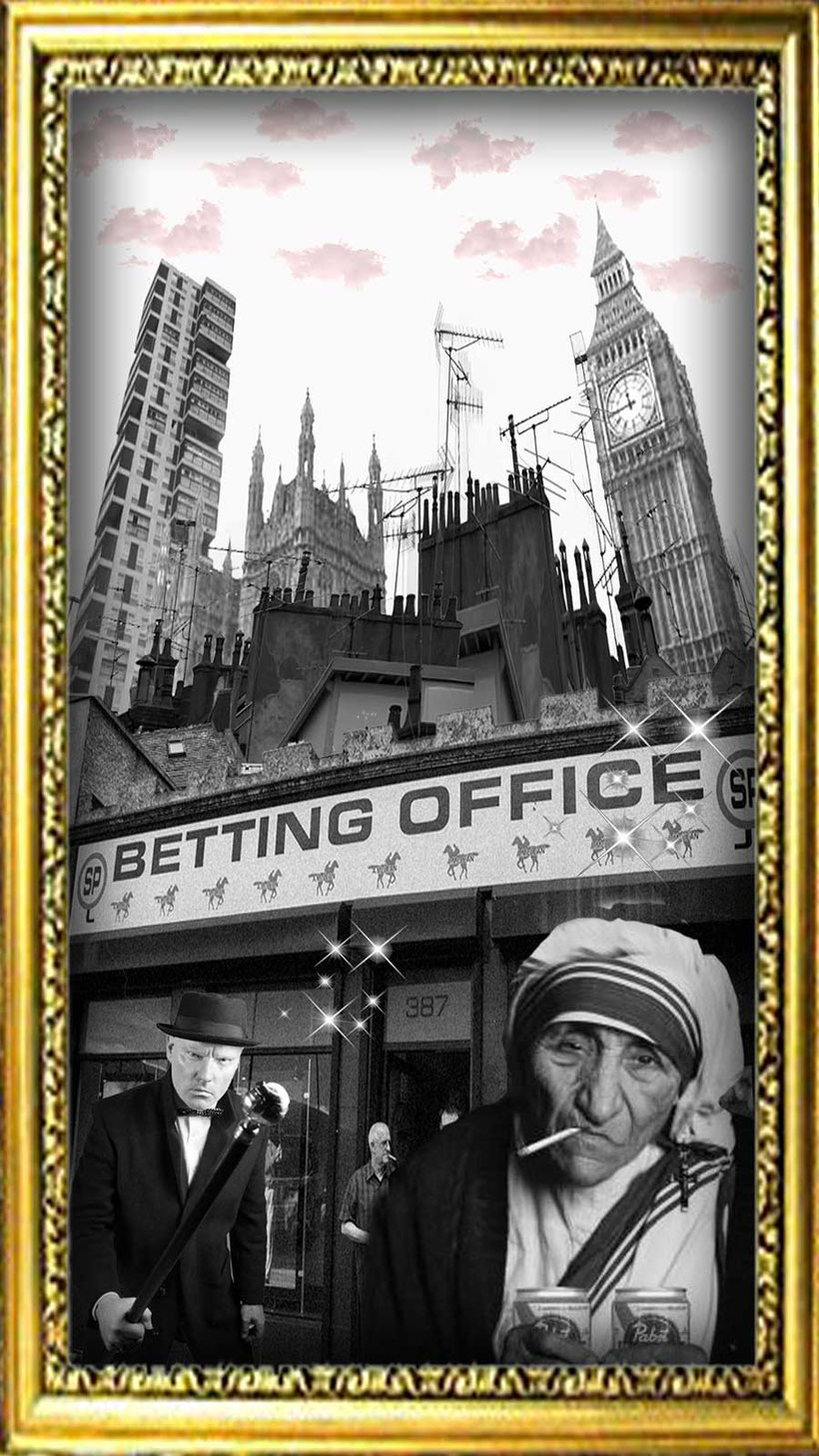 Graphic to learn British culture and English language : People outside a typical British betting shop.