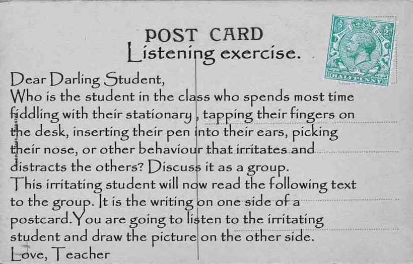 English language listening exercise written on graphic of vintage postcard  Part 1