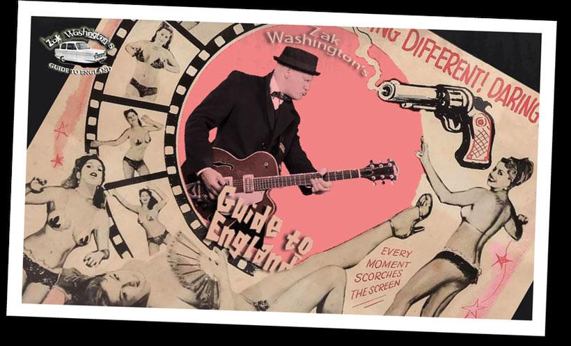 ZakWashington logo (photo playing the guitar with kitsh 1950s graphic)