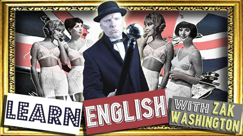 ZakWashington logo with the words 'Learn English' and Great Britain vintage photo graphic