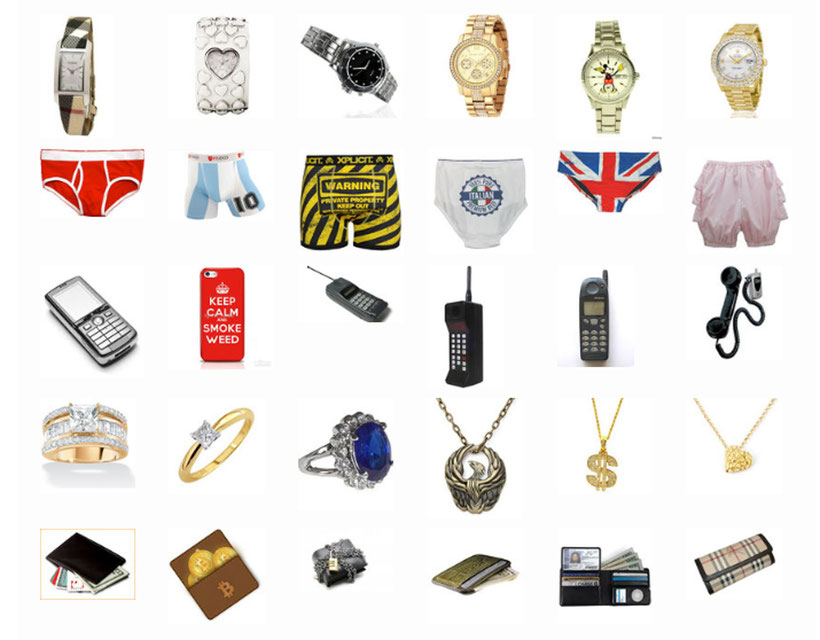 graphic showing objects from the game:  five watches, five pairs of underwear, five cell phones, five pieces of jewellry and five wallets.