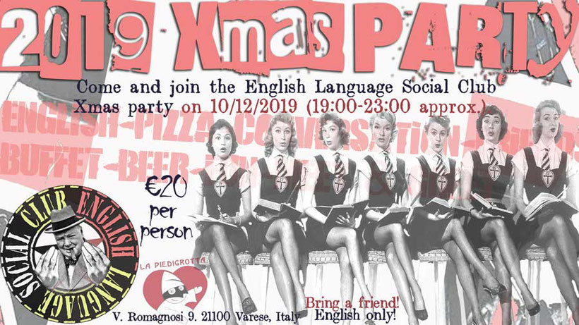 Flyer for Libertarian Linguistics' English Language Social Night xmas party in Varese 2020
