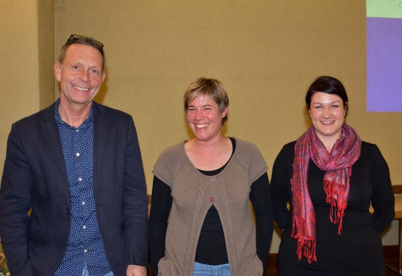 Die Referenten Christoph Kiefer und Ursi Dommann sowie die Präsidentin des OBV Christine Badetscher