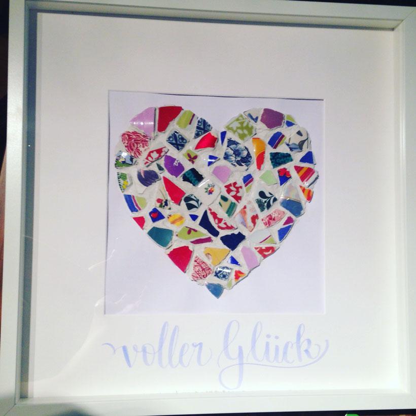 DIY Mosaik Herz - ein schönes Hochzeitsgeschenk für das Brautpaar