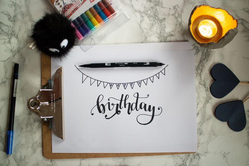 Handlettering Geburtstagskarte zum Einjährigen Youtube Jubiläum von Cari Lettert