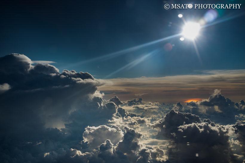 avião, céu azul, por do sol, viagem, mar do Japão, guerra nas estrelas, angeles ladder, mar de nuvens