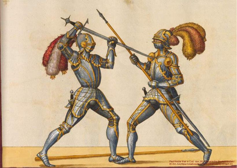 Harnischkampf bei Paulus Hector Mair (1540er): Der Schwertkämpfer verwendet hier eine sogenannte Halbschwerttechnik, um besser in die Lücken der gegnerischen Rüstung stechen zu können.