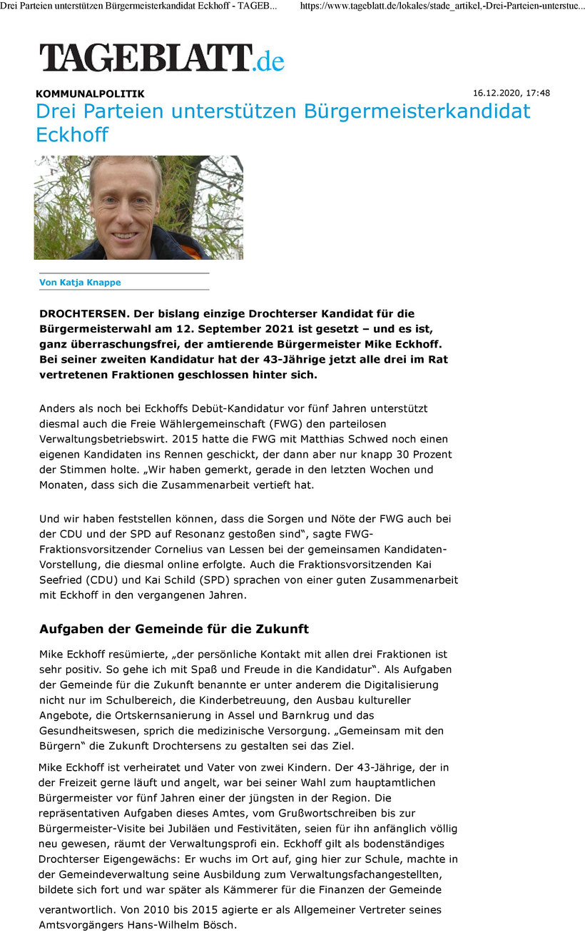 Stader Tageblatt vom 16.12.2020