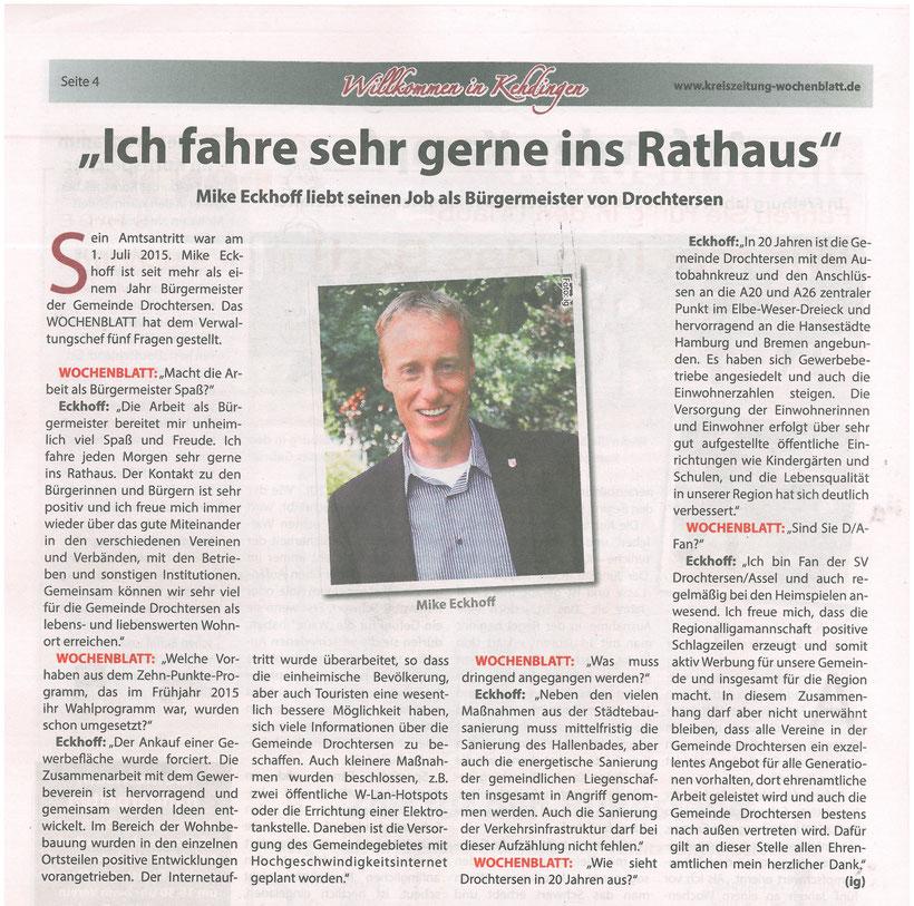 Kehdinger Beilage in der Kreiszeitung - Wochenblatt vom 31.08.2016