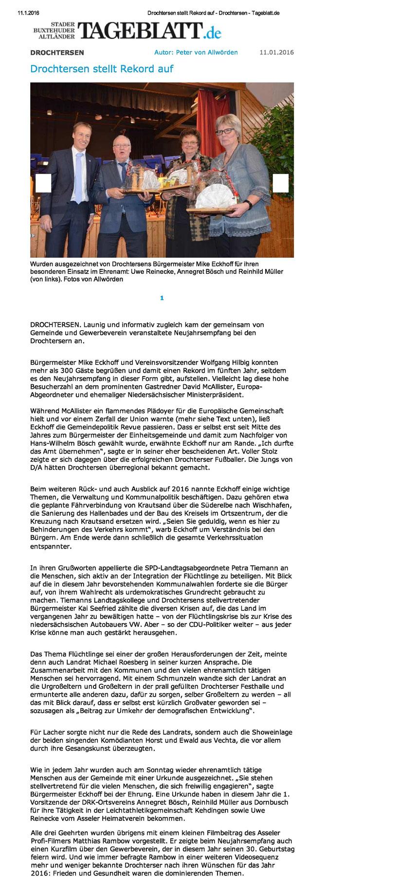 Stader Tageblatt vom 11.01.2016
