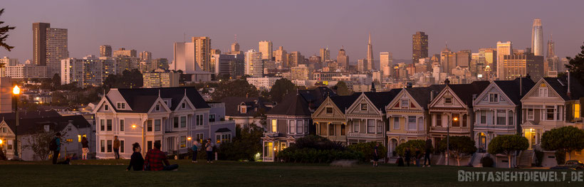 painted,ladies,alamo,square,san,francisco,view,sunset,night,lights,long,exposure,downtown,panorama,love