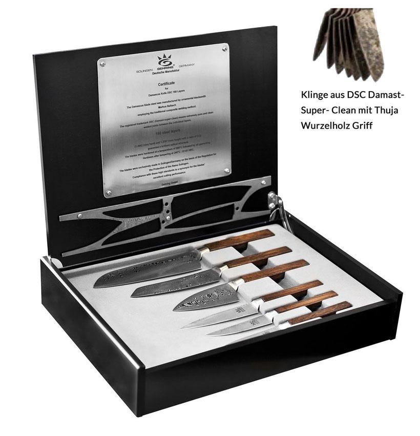 Damast Messer Set, professionelles Messerset, Profimesser aus Damast, Solingen Messer, Damaststahl Messer