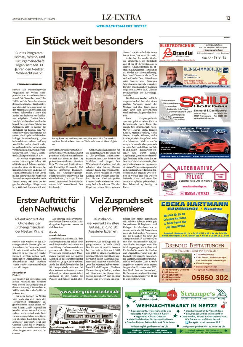 Landeszeitung Bericht über Weinachtsmarkt Neetze 2019 it Anzeige der Alternativen Pflege