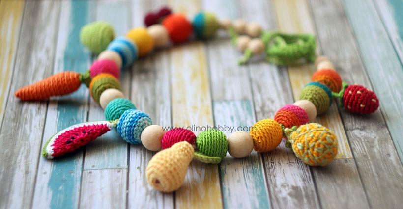 Вязаные слингобусы с фруктами OlinoHobby. Crochet nursing necklace with charms-fruits.