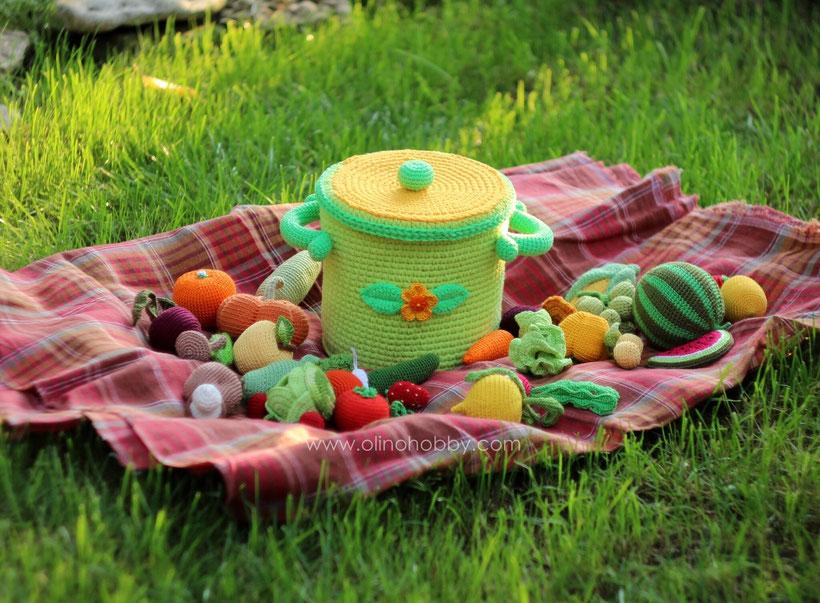 Вязаные фрукты и овощи OlinoHobby, вязаная еда. Crochet fruits and vegetables by OlinoHobby.