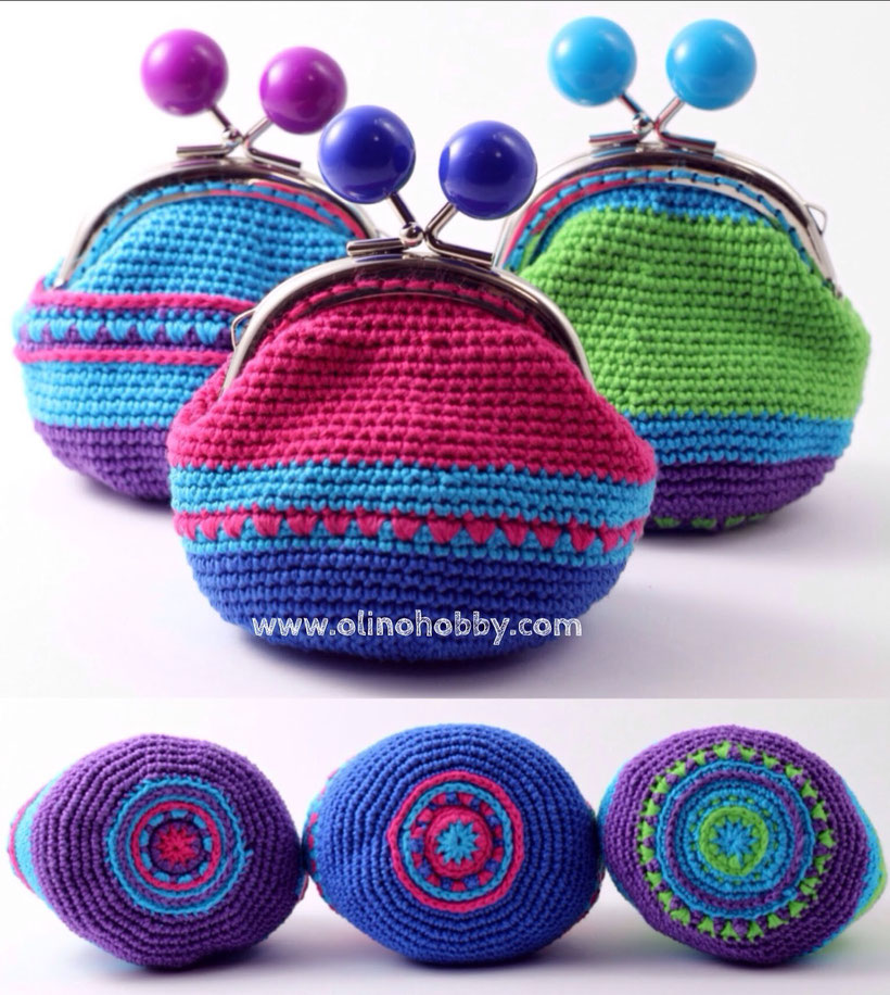 Crochet purses with ball clasp