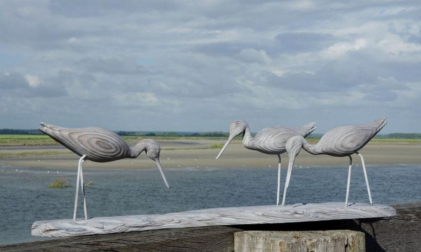 sculpture d'oiseau de bois de la baie de Somme