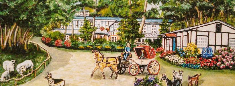 Idylle im Hotel Landhaus Börnicke - Farbzeichnung