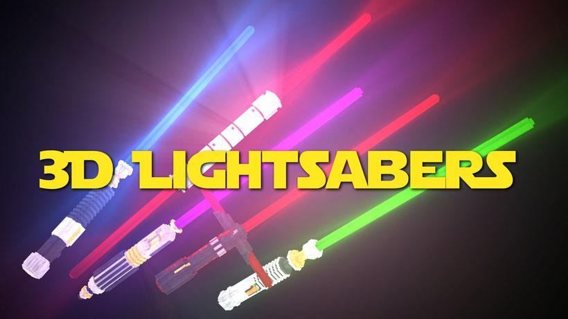 3D Lightsabers Logo