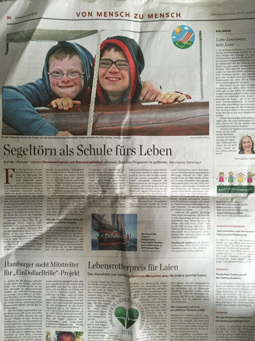 Hamburger Abendblatt vom 17.7.2016