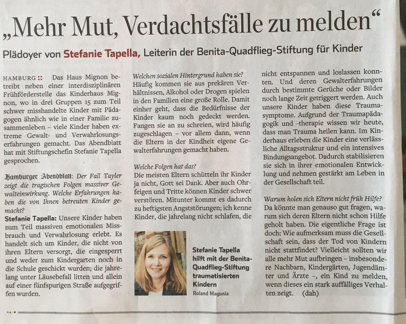 Hamburger Abendblatt vom 10.9.2016 - Interview mit Stefanie Tapella