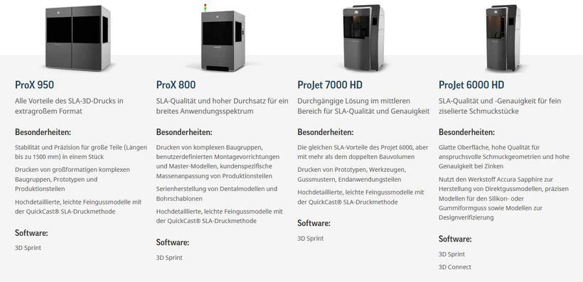 Stereolitografie ProJet 6000 + 7000 und ProX 800 + 950