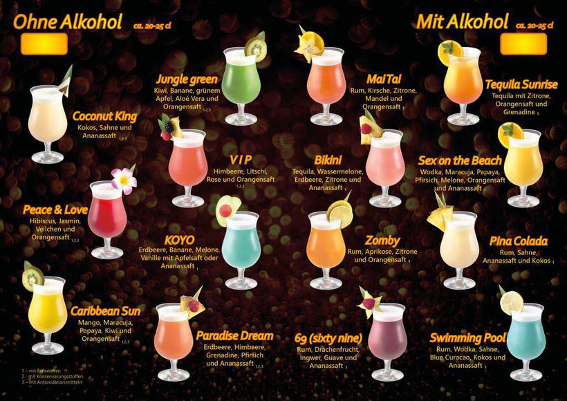 Cocktails mit oder ohne Alkohol