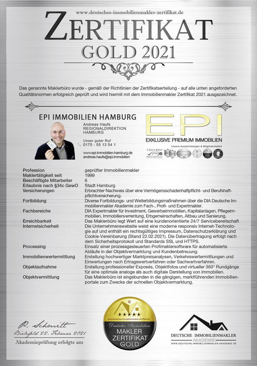 MAKLER ZERTIFIKAT MAKLER ZERTIFIZIERUNG DIN 15733 ANDREAS HAUFS IMMOBILIENMAKLER HAMBURG MAKLERZERTIFIKAT IHK MAKLEREMPFEHLUNG HAMBURG