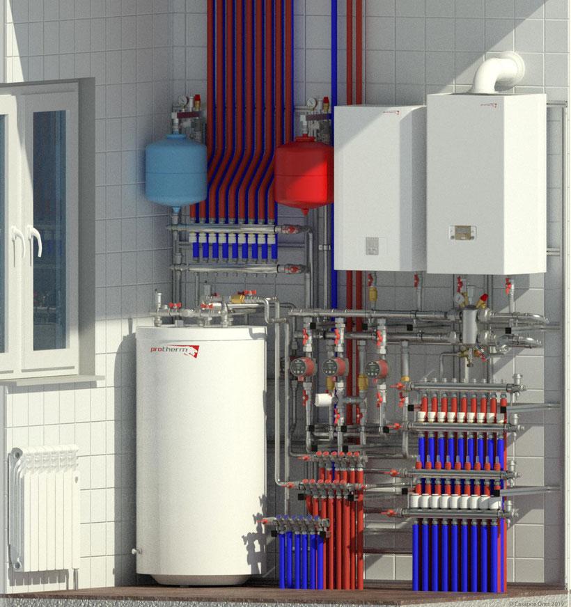 Готовое решения для домов площадью до 300м2 обеспечит до 5 контуров отопления и нагрев горячего водоснабжения через бойлер косвенного нагрева. Компановочное решение включает в себя все необходимое для обеспечения комфортной эксплуатации загородного дома.
