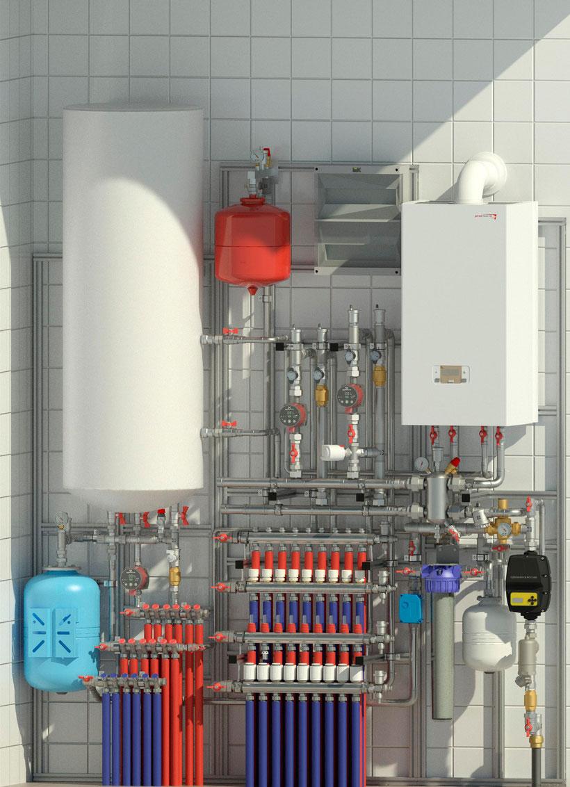 Готовое решения для домов площадью до 300м2 обеспечит до 3 контуров отопления и нагрев горячего водоснабжения через бойлер косвенного нагрева. Компановочное решение включает в себя узел ввода и подготовки водоснабжения, коллекторы отопления и водоснабжени
