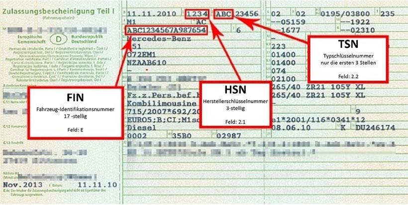 Fahzeugschein Hilfestellung Getriebenotdienst TSN HSN FIN