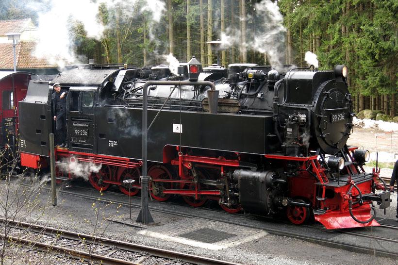 Die Dampflok der Harzer Schmalspurbahn beim Halt in Schierke