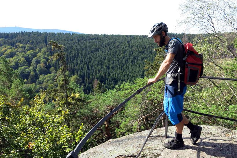Max auf der Westerklippe - mit Blick zum Brocken. Hier sieht man auch gut den Übergang von Laub- zu Nadelwald