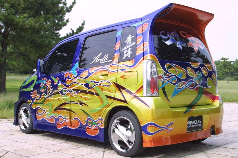 軽自動車、Kカーカスタムペイント、キャンディーフレーク塗装のスズキワゴンR