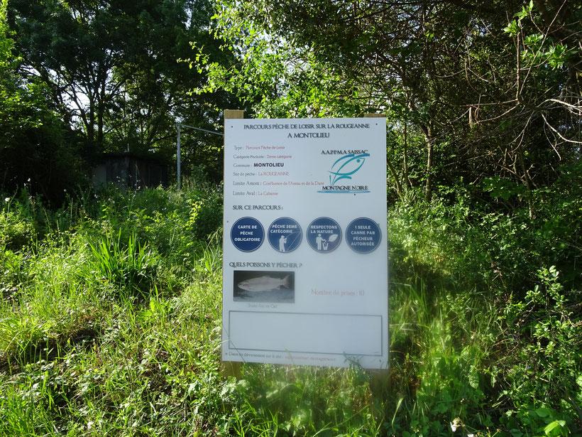 Parcours Pêche Loisir ,panneau d'informations pour les pêcheurs .