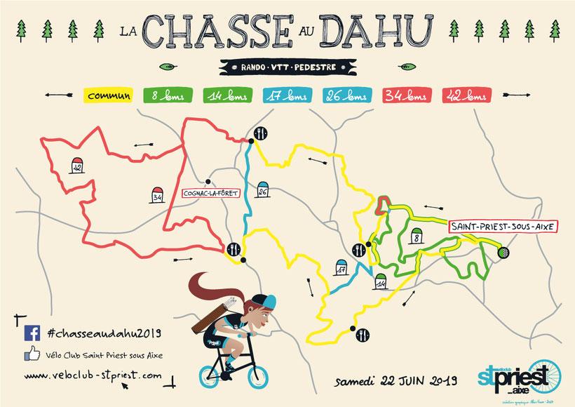 Carte - La Chasse au Dahu 2017 - Vélo Club Saint-Priest-sous-Aixe - Rando - VTT - Pédéstre
