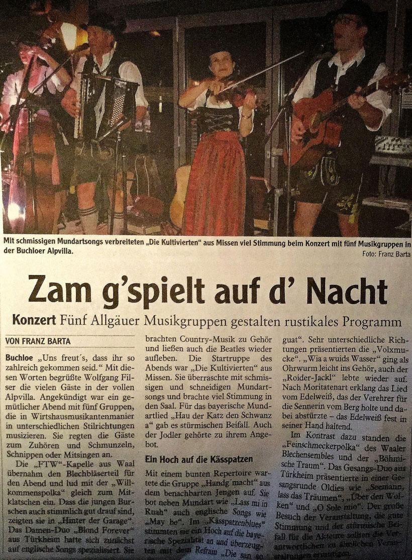 """Pressebericht: DIE KULTIVIERTEN bei """"Zam g'spielt auf d'Nacht"""" in der Alp Villa in Buchloe im März 2017"""