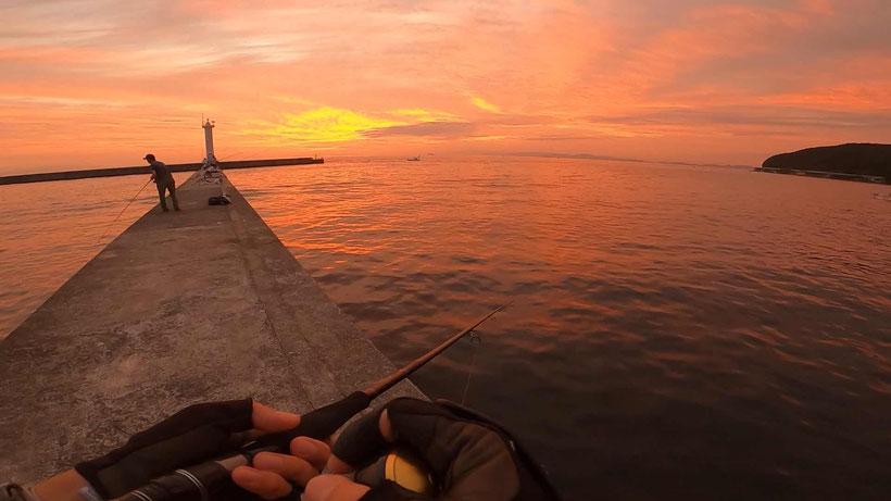 淡路島 洲本港白灯台の釣り ショアジギングで大サバ