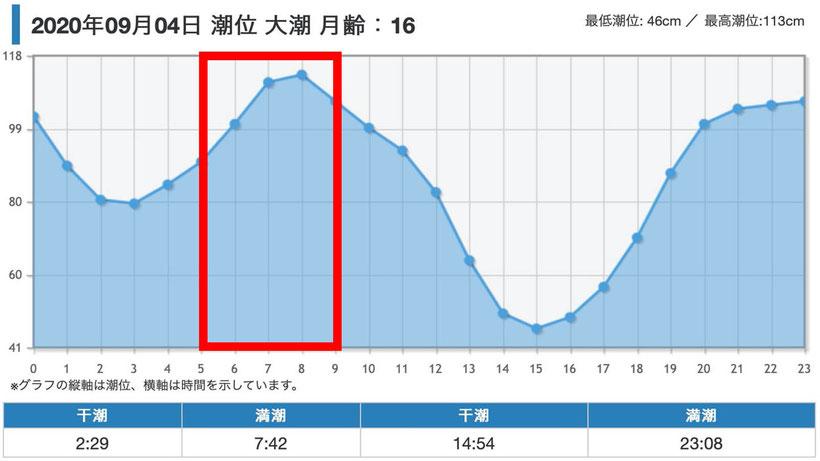 当日のタイドグラフ 明石海峡淡路島サイド 激投ジグで青物ヒラマサ(?)獲った