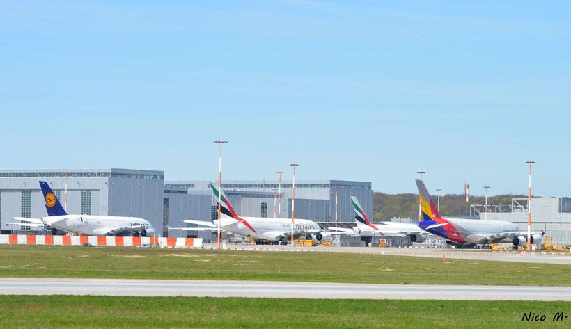 Blick auf A380-Vorfeld