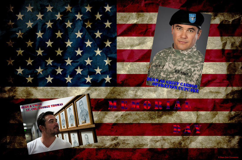 "This was a special creation for the Memorial Day a few years ago. I've used one pic of Dean's movie ""Operation Cupcake"" in which he played the U.S. Army Colonel Griff Carson and on the other pic you see Dean with his uncle Lt. Col. George Thomas."