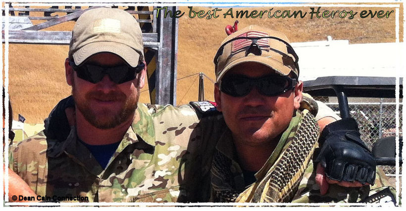 "That's a pic of Dean Cain & Chris Kyle when they were teammates in the tv-show ""Stars Earn Stripes"" on NBC in the year 2012."